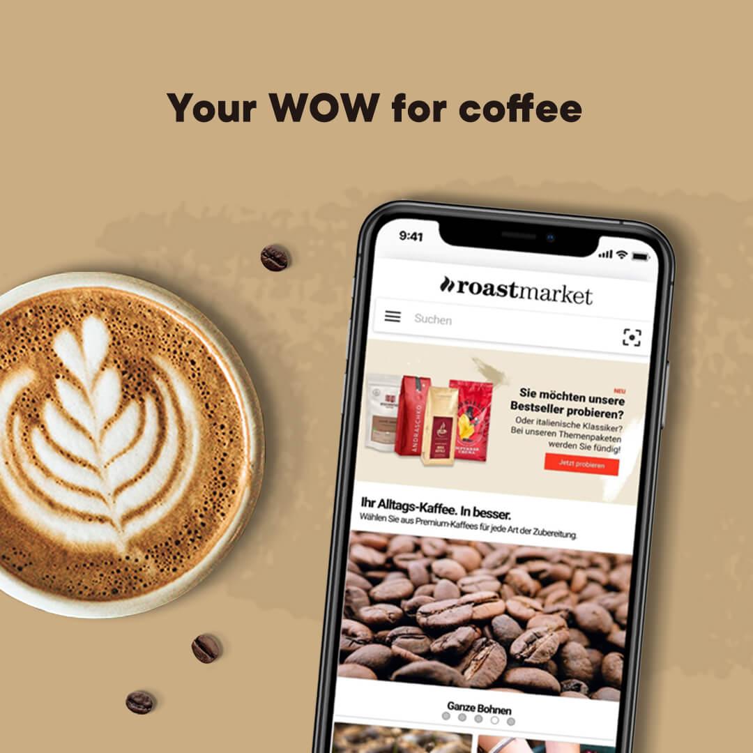 roastmarket App mit Cappuccino