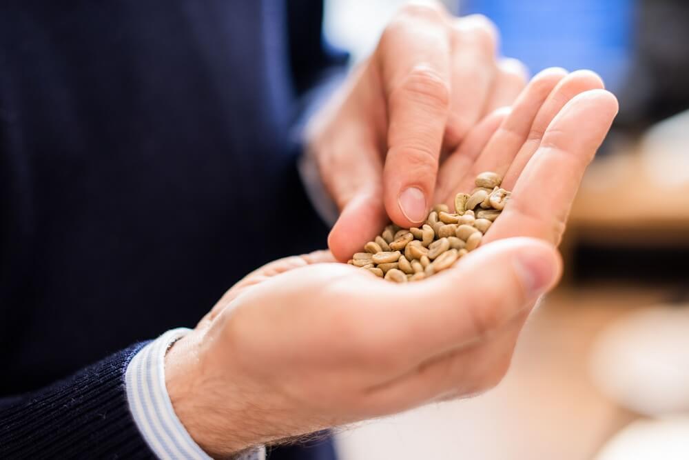 Kaffeesbohnen auf der Hand