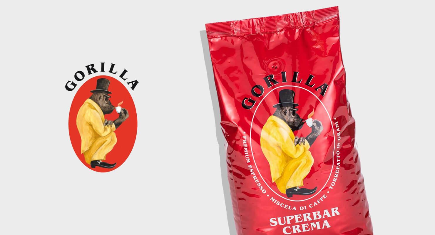 Gorilla Logo neben Packung Gorilla Superbar Crema