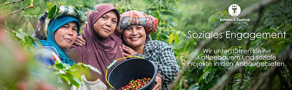 Bohnen und Soehne soziales Engagement und direkter Handel mit Kaffeebauern