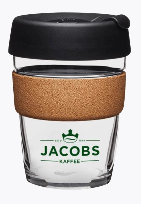 Jacobs Keep Cup aus Glas und Kork