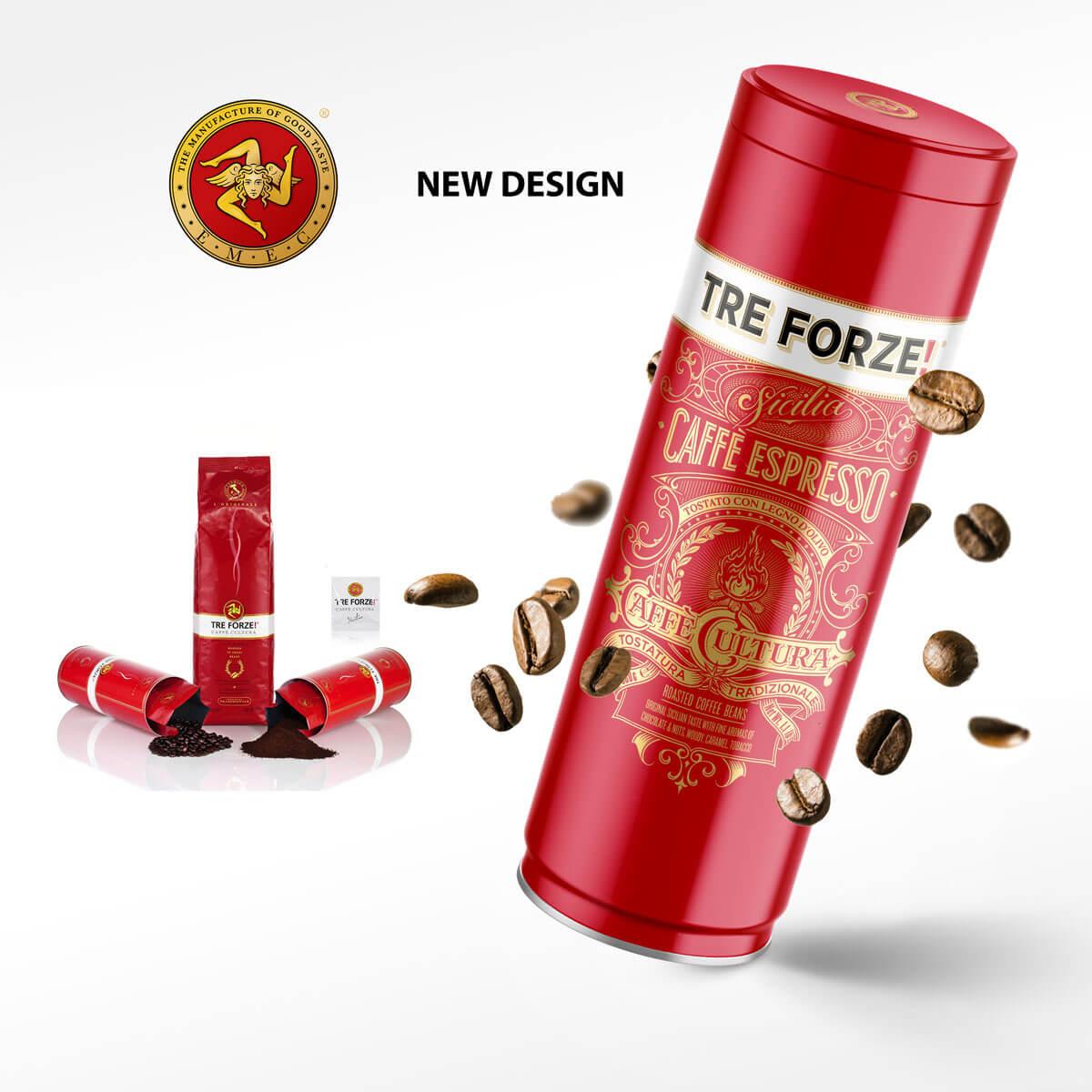 TRE FORZE! Kaffeedose altes und neues Design Rebranding