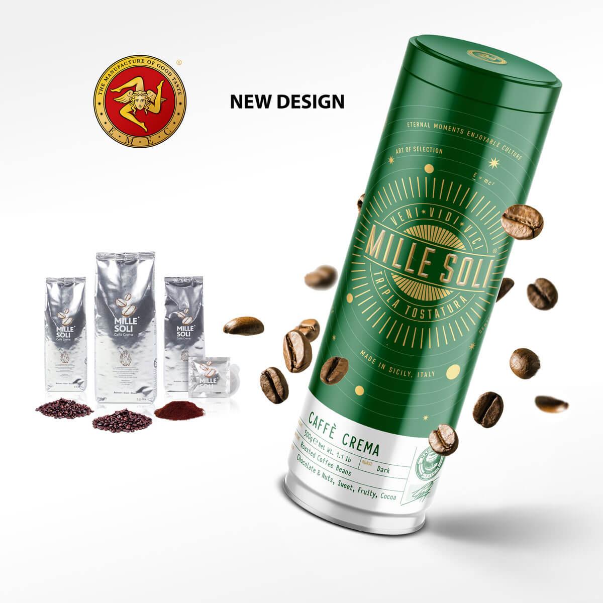 MILLE SOLI Caffè Crema Rebranding altes und neues Design