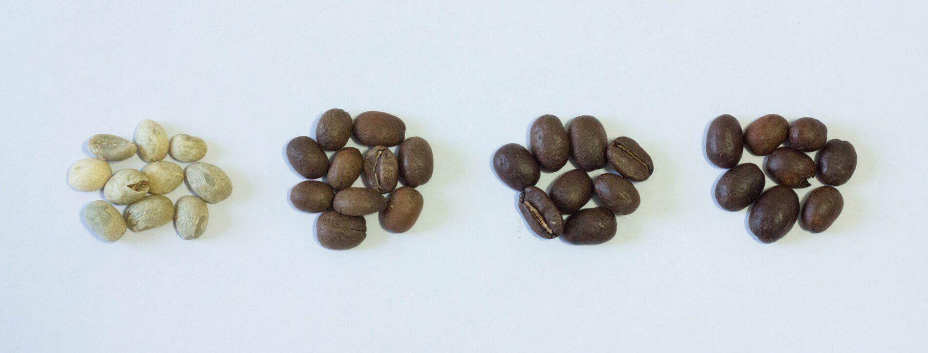 Kaffeeröstungen in drei Röstgraden: hell, mittel und dunkel