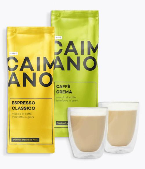 roastmarket Geschenkset mit Caimano Kaffee und anna&finn Cappuccinogläsern
